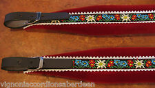 Deluxe Folk Accordion Straps Italcinte 350a Leather red padding + BackStrap