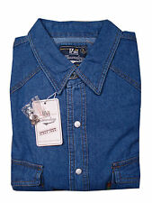 Duke London Mens Long Sleeve Western Denim Shirt Top XL Blue