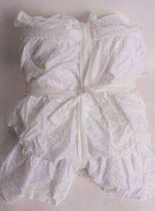 "New Pottery Barn Kids Ruffle Bed Skirt, white, full, 18"" drop, 3-tier cotton"