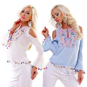 Tunica maglia donna cotone pon pon colorati ricamata manica campana nuova #