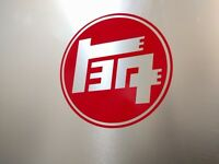 "2 pack 1930's Toyota TEQ Logo Vinyl Decal Sticker Gloss Red 3.5"" (9cm)"