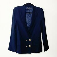 Zara Woman Size XS Made in Spain Navy Blue Double Breasted Preppy Blazer Gold