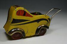 Vintage Futurist Tin Toy Baby Pram Art Deco Futuristic Stroller Italy 1930