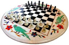 "24"" White Marble Chess Coffee Table Top Marquetry Parrot Art Inlay Decor H4459"