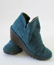 Fly London Yip Ruched Turquoise Teal Suede Wedge Ankle Boots 37