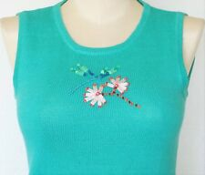 Storybook Knits Sweater Tank Top New Womens Dragonfly Turquoise Sequins Beads XS