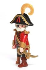 Playmobil Figure Old Pirate Captain w/ Grey Hair Eye Patch Hat Gold Sword 3133