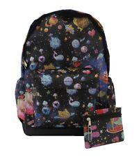 Blue Planets Space Backpack Rucksack School Travel Emo Skull PremEss Bag 007