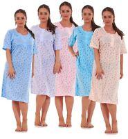 Ladies Nightwear 903 Floral Print Crew Neck Button Short Sleeve Nightshirt M-XXL