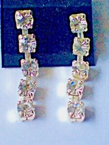 SILVERTONE DROP EARRINGS WITH 5 DIAMONTE STYLE STONES 35mm. LONG £4,50 NWT