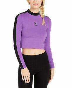 NEW Women's Puma Classics T7 Cropped Long Sleeve Top Purple Size Large