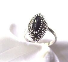 925 STERLING SILVER MARCASITE BLACK ONYX OVAL  RING SIZE 10