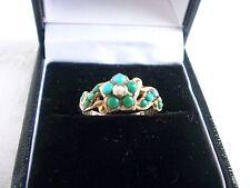 Early Vittoriano ORO 9 carati semi turchese e perla ciondolo Anello vetro intatto