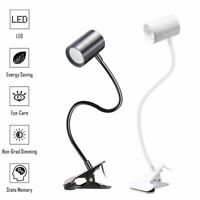 USB Flexible Reading Light Clip-on LED Desk Lamp Dimmable Table Bedside Lights