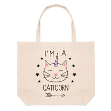 I'm a Caticorn Grand Plage SAC FOURRE-TOUT - chat licorne CHATON DRÔLE courses