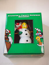 SYLVESTER & TWEETY Snowman Ornament Looney Tunes in Box