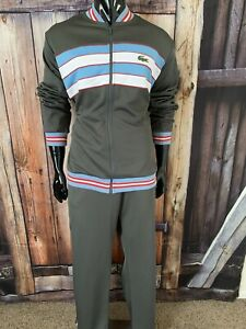 Lacoste Sport Dark Olive Green Blue Red & White Tracksuit Size 7 w/ Bottoms