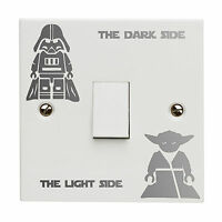 Star Wars Dark Light Side Switch Vinyl Decal Sticker Kid Room Lightswitch Silver
