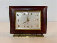 Vintage Seth Thomas Germany Wood and Brass Desk Alarm Clock