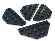 *NEW* 4 Pieces LEGO BLACK WEDGE PLATE 3x6 Cut Corners