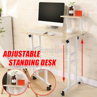 Sit & Stand Computer Workstation Desk Adjustable Height Table Office w/ Wheel