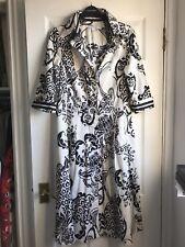 'ZARA' 1940/1950s INSPIRED BLACK & WHITE MONOCHROME SHIRT DRESS UK L (12/14)