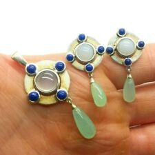 Designer Lapis Jade Set Sterling Silver 925 Earring 11g WEN561j