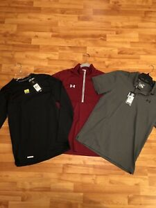 LOT OF 3 UNDER ARMOUR POLO/ COLD GEAR/HALF ZIP MEN'S SIZE SMALL NEW