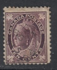 "Canada Scott #73  10 cent brown violet  ""QV Leaf""   F **"
