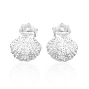 Texture Shell Designer Handmade 925 Sterling Silver Stud Earrings Jewelry