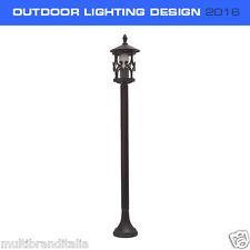 LAMPIONE PORTALAMPADA DESIGN LED E27 PER ESTERNO IP44 max 60W NERO H 1mt