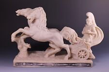 Vintage Roman Chariot  & Horses Statue Gladiator Resin or Faux Marble