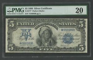 """FR277* $5 1899 S/C """"CHIEF"""" STAR NOTE PMG 20 VF+ 10 KNOWN EXT RARE WLM8578"""