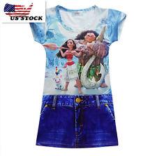 Girls Kids Movie Polynesia princess Moana Simulation Jean Costume Dress K70