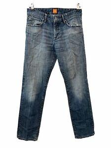 Mens BOSS HUGO BOSS Orange Blue Straight Leg Jeans Size UK32 32  - S38