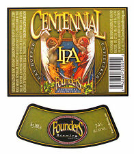 Founders Brewing CENTENNIAL IPA beer label MI 12oz with neck Var. #3