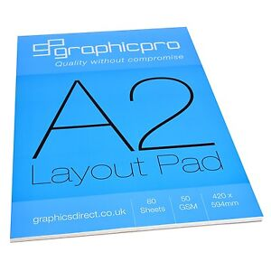 GraphicPro A2 White Layout Drawing Paper Pad 50gsm 80 Sheets