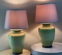 Pair Vintage Retro Olive Green Mid Century Danish Modern Circa 90's Ceramic Lamp