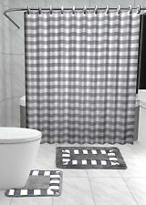 13PC STRIPED SILVER GRAY Printed Design Bathroom Fabric Shower Curtain Set Hook