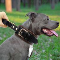 Genuine Leather Dog Collar with Handle Training Control Heavy Duty Medium Large