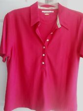 GREG NORMAN Polo Womens Fusia Short Sleeve Collared Shirt Golf Large