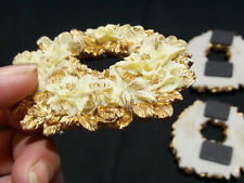 3 Vintage Raised Floral/Bows Ceramic Handpainted Fridge Noticeboard Magnets .
