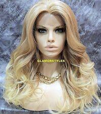 Long Loose Wavy Medium Bleach Blonde Mix Lace Front Full Wig Heat Ok Hair Piece