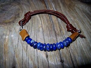 Supple Leather Lapis Sterling Silver Cuff Bracelet Brown Custom Sized for You!