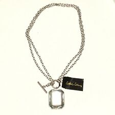 COOKIE LEE~ NEW Double Silver Chain Front Toggle Faceted GLASS PENDANT Necklace