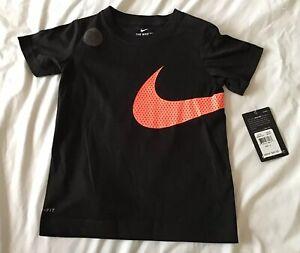Nike Boys Size 4 Black T-ShirtW/Orange Swoosh Logo 100% Cotton NWT