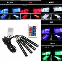 Car Interior LED RGB Strip Lights Atmosphere Footwell Decor Bar Neon Lamp 12V 4x
