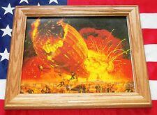 Framed Historic Painting, Mort Kunstler, German Airship HINDENBURG explodes 1937