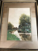 "Frederik Jacobus Du Chattel ""Dutch Canal Scene"" Watercolor - Signed/Framed"