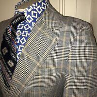 Vtg 60s 70s Navy Gold PLAID Men 40 SHORT Blazer Sport Coat POLYESTER Suit Jacket